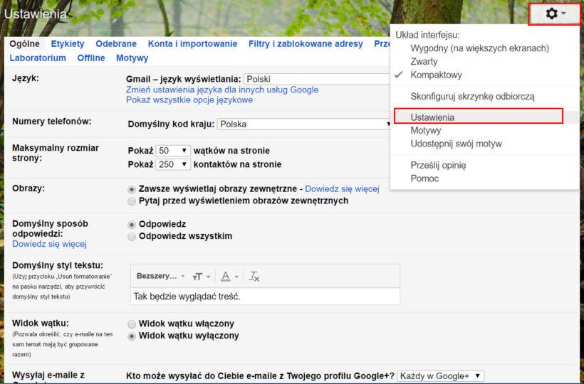 Ustawienia poczty Gmail