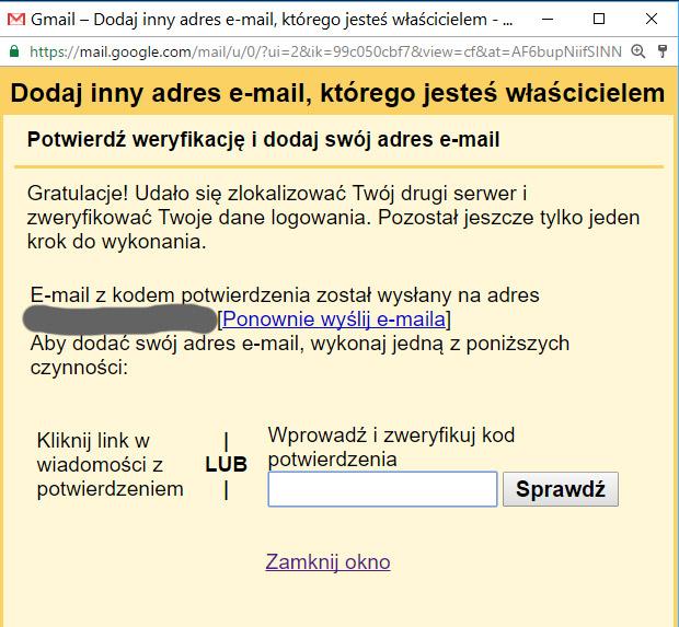 Kod potwierdzający gmail
