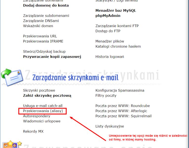 DirectAdmin - przekierowania e-mail